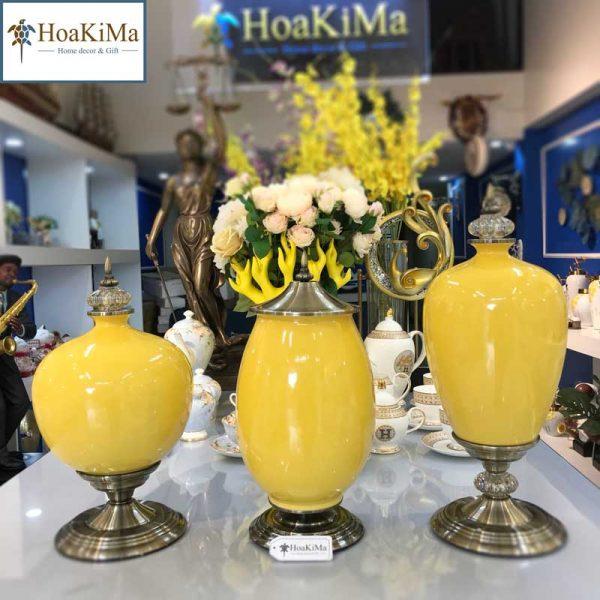 Bộ bình gốm vàng Hkm303