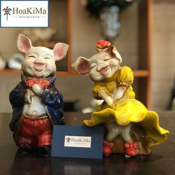 Tượng trang trí cặp lợn gốm