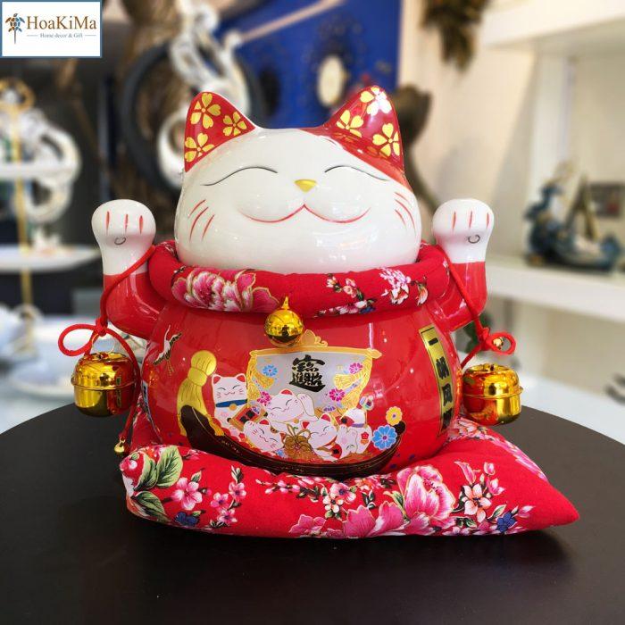 Mèo thần tài đỏ mèo thần tài trang trí