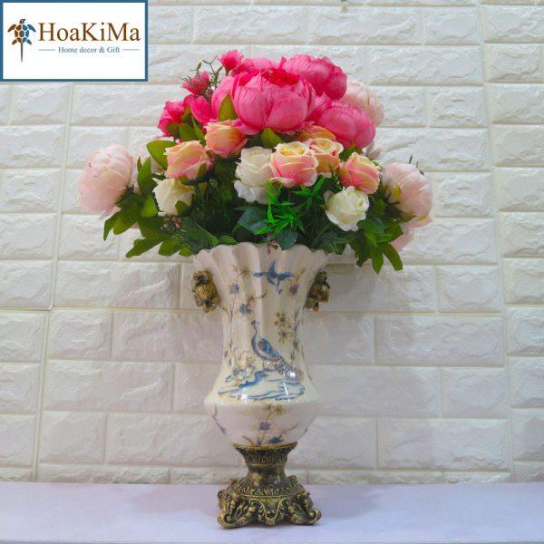 Bình hoa trang trí chim công