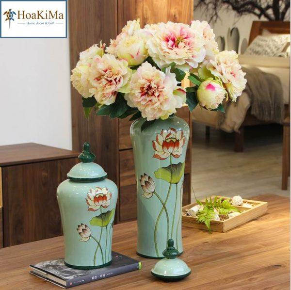 Bộ bình gốm hoa sen