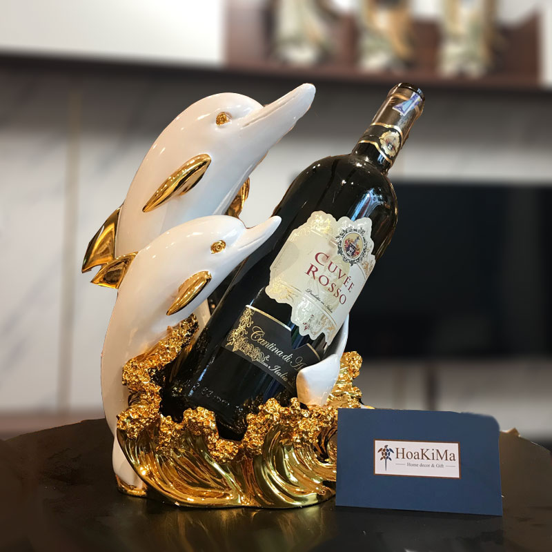 Kệ rượu đôi cá heo vàng trang trí đẹp