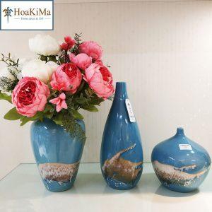Bộ bình gốm xanh trang trí