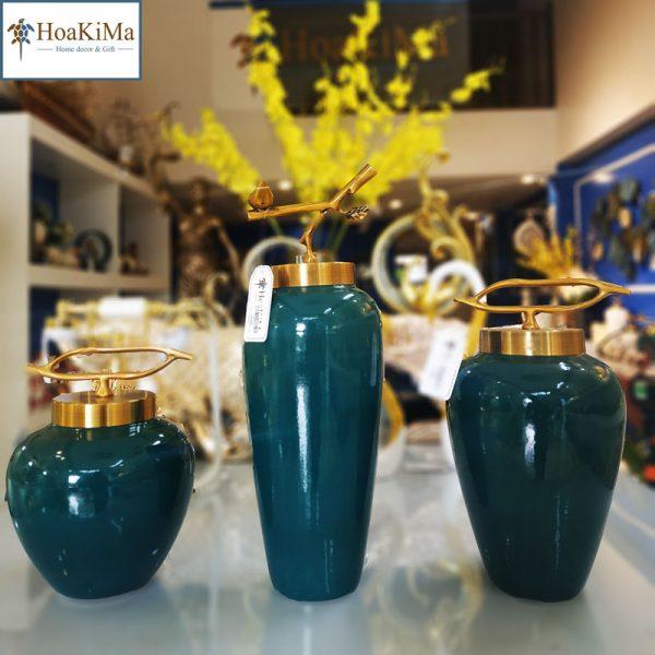 Bộ bình gốm xanh ngọc trang trí Hkm229